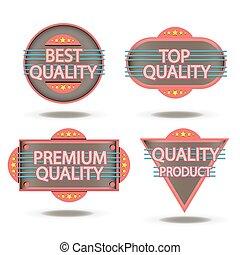 premio, qualità, francobollo, vendemmia, adesivo, isolato, etichetta, realistico, vettore, disegno, retro, distintivo
