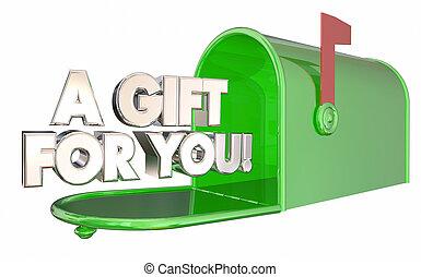 premio, regalo, Oferta, Ilustración, buzón, usted, especial,  3D