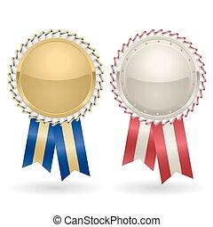 premio, rosetta, oro, argento