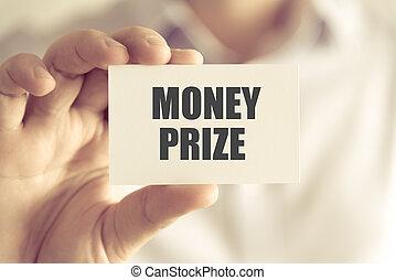 premio, soldi, presa a terra, uomo affari, messaggio, scheda