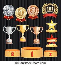 premio, trofeos, vector, set., logro, para, 1ero, 2, 3, lugar, ranks., ceremonia, colocación, podium., dorado, plata, bronce, achievement., campeonato, stars., guirnalda laurel, con, oro, protector