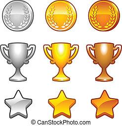 premios, conjunto, deporte