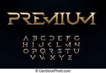 Premium alphabet, royal style golden font, modern type for elite logo, headline, monogram, creative lettering and beautiful typography. Minimal style serif letters, vector typographic design.