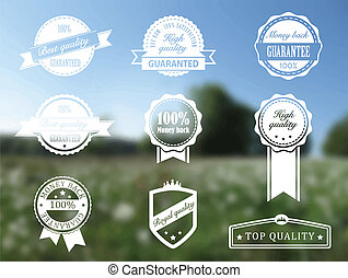Premium and High Quality transparent Label on blur background