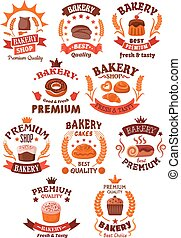 Premium bakery and pastry shop symbols