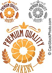 Premium Bakery badge or label with ears of ripe wheat, round...