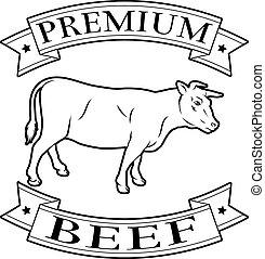 Premium beef food label