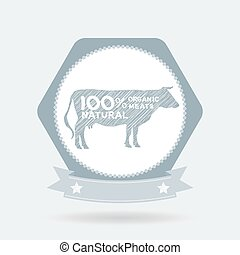 premium beef label, badge Farm shop, cow milk Diagram and Design Elements in Vintage Style. Vector