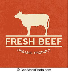Premium beef label with grunge texture, organic