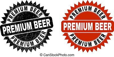 PREMIUM BEER Black Rosette Stamp Seal with Grunged Style