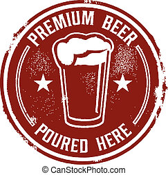 Premium Beer Poured Here - Vintage style bar sign.