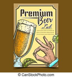 Premium Beer Pub Tavern Advertising Poster Vector