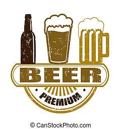 Premium beer grunge rubber stamp on white, vector illustration