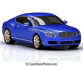 Premium blue car with gold wheels. Front view