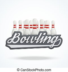 Premium Bowling labels. Symbol of bowling alley. Vector...