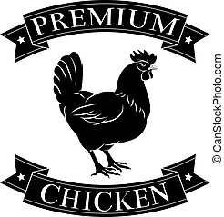 Premium chicken menu icon of a chicken and banners in a stamp style