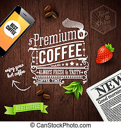 Premium coffee advertising poster. Typography design on a...