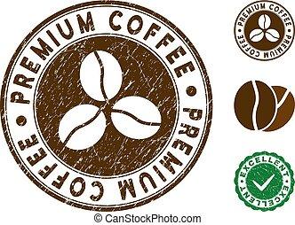 Premium Coffee Stamp with Grunge Texture
