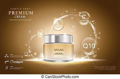 Premium cream ads, translucent cream bottle with ingredients...