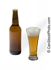 Premium czech beer in glass isolated on background in studio