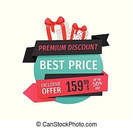 Premium Discount, Best Price Offer Sale Label