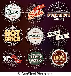Premium, discount vintage badges