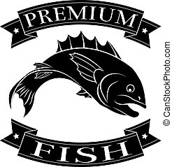 Premium fish or seafood food label featuring an illustration of a fish