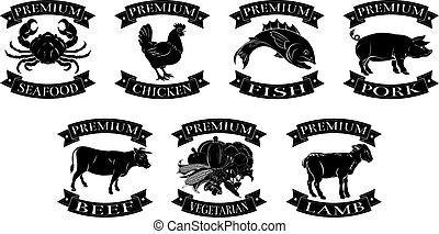 A set of food label illustrations for seafood beef chicken fish pork lamb and vegetarian food groups reading premium