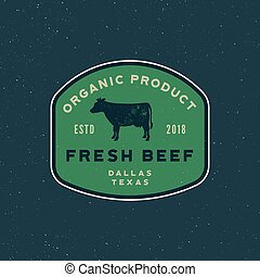premium fresh beef label. retro styled meat shop emblem. vector illustration
