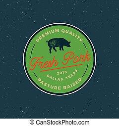 premium fresh pork label. retro styled meat shop emblem. vector illustration