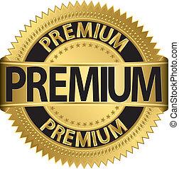 Premium golden label, vector illust