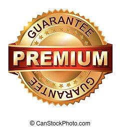 Premium golden label with ribbon.