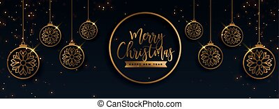 premium golden merry christmas decorative banner design