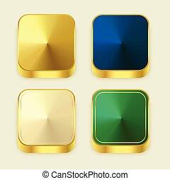 premium golden shiny 3s square buttons