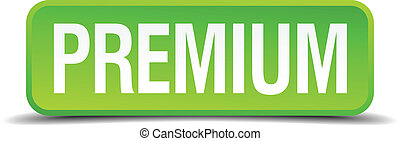 Premium green 3d realistic square isolated button