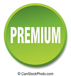 premium green round flat isolated push button