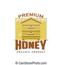 Premium honey product hive honeycomb vector icon