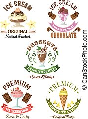 Premium ice cream desserts emblems with enjoyable pineapple...