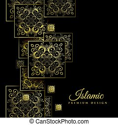 premium islamic background with floral square mandala pattern
