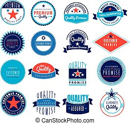 Premium logo set in retro vintage style - 100% guarantee,...