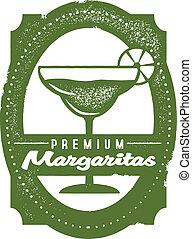 Classic distressed margarita cocktail stamp.