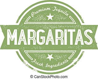 Vintage style bar menu stamp. Premium Margaritas.