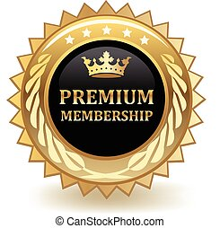 Premium membership gold badge.