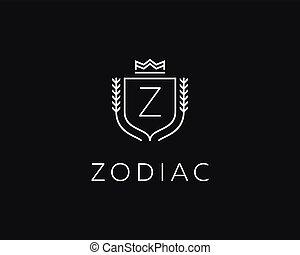 Premium monogram letter Z initials ornate signature logotype. Elegant crest logo icon vector design. Luxury shield crown sign.