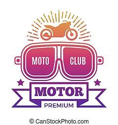Premium motor club label design isolated on white background...