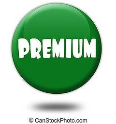 PREMIUM on green 3d button.