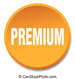 premium orange round flat isolated push button
