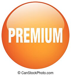 premium orange round gel isolated push button