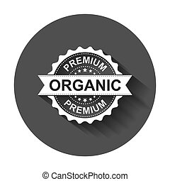 Premium organic grunge rubber stamp. Vector illustration with long shadow. Business concept natural organic stamp pictogram.