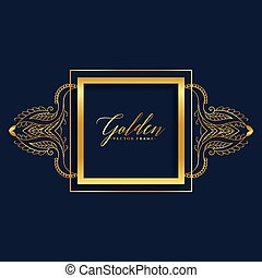premium ornamental frame in golden style